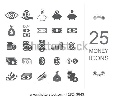 Money icon set. Coin and money icon vector collection. Banknote and coin icons
