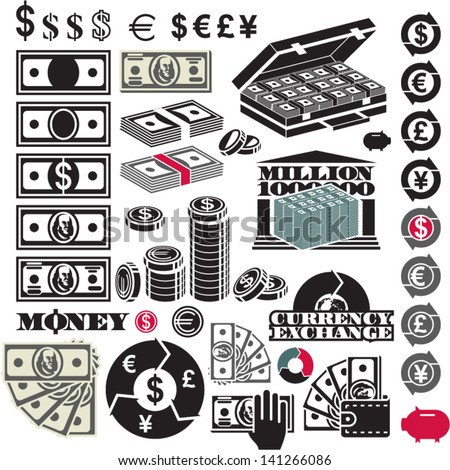 Money icon set  Dollar bill  Million  Currency icons Dollar Bill Icon Vector