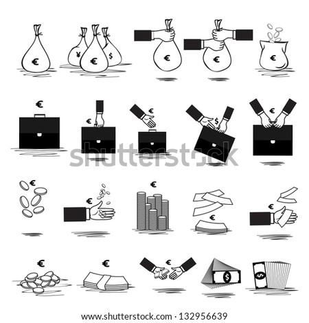 Money Icon - Set - Isolated On White Background. Vector illustration, Graphic Design Editable For Your Design. Money Logo