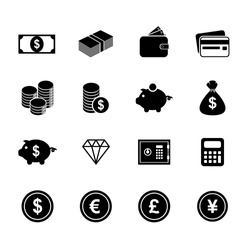 Money icons. Finance icon. Currency icon. Silhouette. Buttons. Vector. Illustration