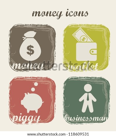 money icons over beige background. vector illustration