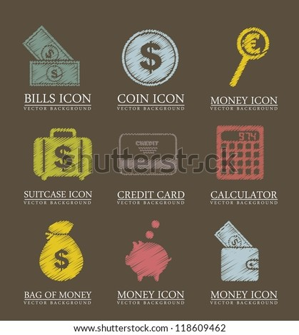 money icons over brown background. vector illustration