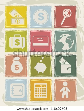 money icons over grunge background. vector illustration
