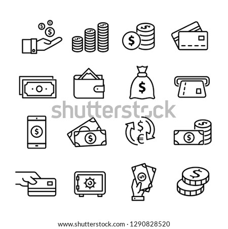 Money icons set, can be used to illustrate topics like savings, paying, buying, using online banking etc...