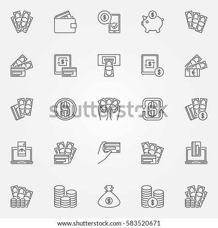 Money icons set - vector collection of cash and credit card payments concept symbols in thin line style