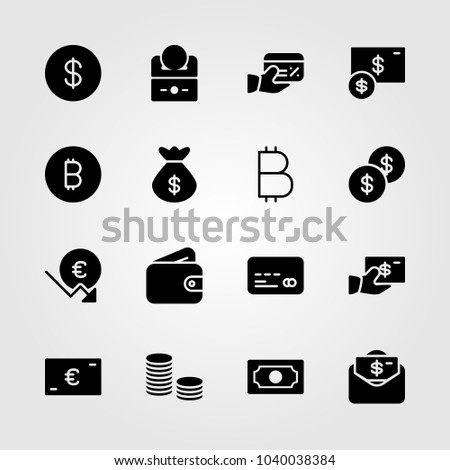 Money icons set. Vector illustration wallet, money, euro and dollar #1040038384