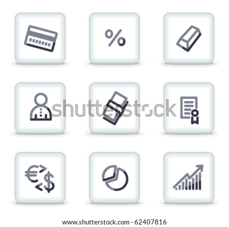 Money icons set 2, white square glossy buttons