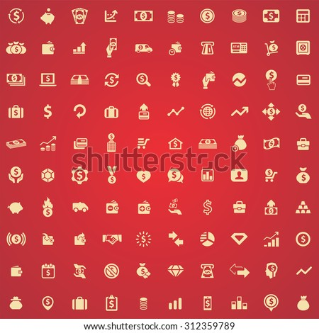 money 100 icons universal set for web and mobile