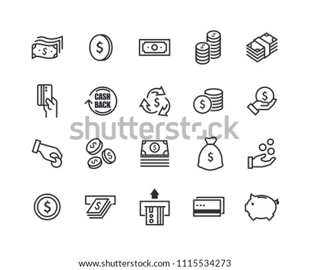 Money icons with White Background. Simple line vector icons. #1115534273