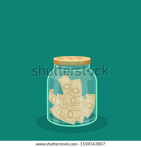 money in a jar  dollars  coins