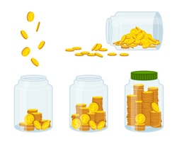 Money in bank, gold coin. Flat cartoon currency sign flying, conservation and saving. Concept finance and banks, investments. Jar hundreds cash fall. Isolated on white background