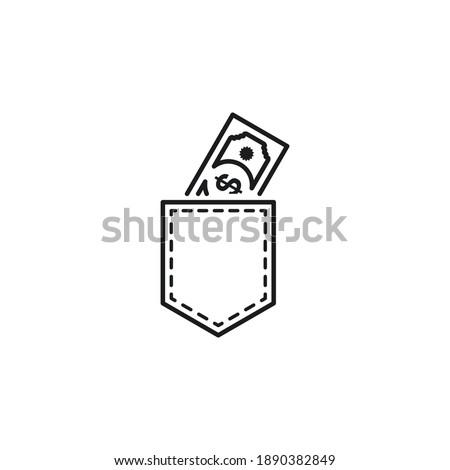 money in pocket icon vector