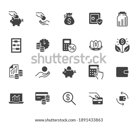 Money income flat icon set. Pension fund, profit growth, piggy bank, finance capital minimal black silhouette vector illustration. Simple glyph signs for investment application. Foto d'archivio ©