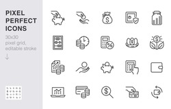 Money income line icon set. Pension fund, profit growth, piggy bank, finance capital minimal vector illustration. Simple outline signs for investment application. 30x30 Pixel Perfect Editable Strokes.