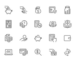 Money income line icon set. Pension fund, profit growth, piggy bank, finance capital minimal vector illustration. Simple outline signs for investment application. Pixel Perfect, Editable Strokes.