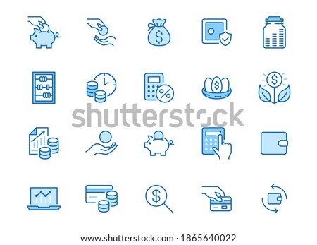 Money income line icon set. Pension fund, profit growth, piggy bank, finance capital minimal vector illustration. Simple outline signs for investment application. Blue color, Editable Stroke. Stockfoto ©
