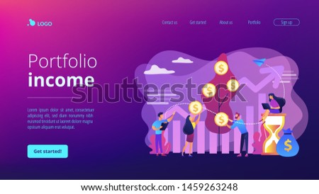 Money investing, financiers analyzing stock market profit. Portfolio income, capital gains income, royalties from investments concept. Website homepage landing web page template.