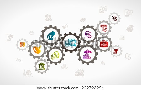 Money investment process . Economy concept illustration