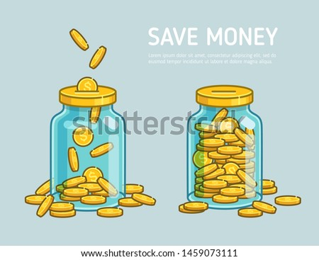 Money Jar or Moneybox savings falling coins - minimalistic vector icons. Accumulate and save your money dollar in jar. Flat line vector coins illustration