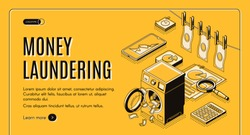 Money laundering web banner, landing page. Criminal cash cleaning in washing machine, clean and wet bills drying on rope, business infographics line art illustration. Tax evasion machinations concept