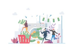 Money Laundry Vector Illustration Concept Showing a corrupt businessman are being chase by police for money laundry, Suitable for landing page, ui, web, App intro card, editorial, flyer, and banner.