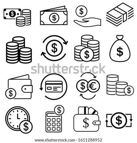 Money line icons. Set of Banking, Wallet and Coins signs. Credit card, Currency exchange and Cashback service. Euro and Dollar symbols. Quality design elements. Editable stroke. Vector Stock photo ©