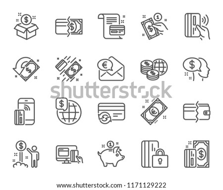 Money line icons. Set of Update credit card, Contactless pay and Piggy bank linear icons. Online payment, Dollar exchange and Fast money send symbols. Private pay, Blocked credit card. Vector