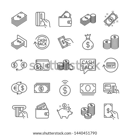 Money line icons. Set of Wallet, Banking and Coins icons. Credit card, Currency exchange and Cashback money service. Euro and Dollar, Cash wallet, exchange. Banking credit card, atm payment. Vector