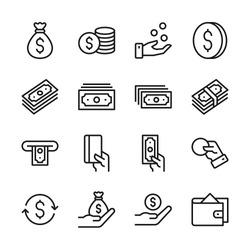 Money line icons set vector illustration