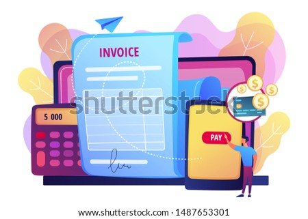 Money loan contract, e payment application, finances management. Payment terms, convenient contract payments, invoice payment terms concept. Bright vibrant violet vector isolated illustration