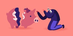 Money Loss at Covid Pandemiс Concept. Senior Business Man Character in Mask Crying near Broken Piggy Bank. Financial Crisis, Investment Decline. Pandemic Finance Problems. Cartoon Vector Illustration