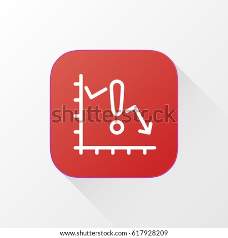 Money Loss, risk application for mobile phone. Line flat vector icon, button and website design. Illustration isolated on white background. EPS 10 design, logo, app, infographic.