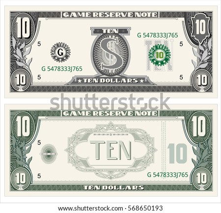 money note for game, cash, ten dollar bill