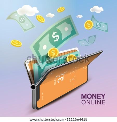 Money Online Mobile Phone VECTOR