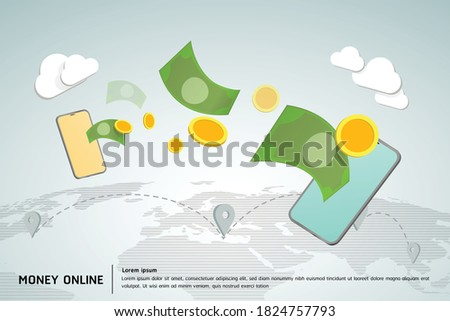 Money online on mobile phone, concept is Transfer money across the world easily with a mobile phone. Photo stock ©