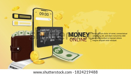 Money online on mobile phone, wallet, and credit card online Online spending Concept of cryptocurrency technology. Online shopping spending And digital money