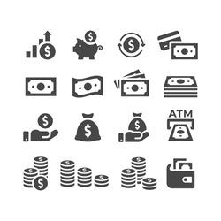 Money or financial vector icon set. Dollar coin, money stack, wallet, banknote finance symbols.