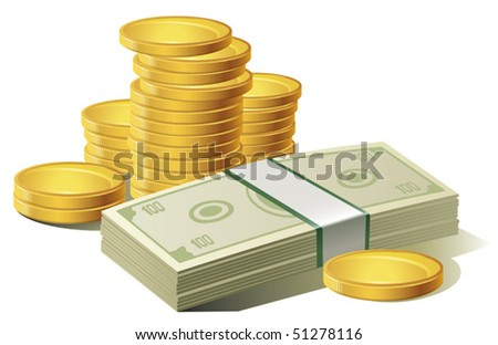 Money. Paper Currency and coins, vector.