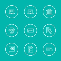 Money payment icons set with mobile payment, virtual banking and credit card elements. Set of money payment icons and virtual banking concept. Editable vector elements for logo app UI design.