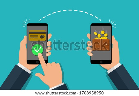 Money payment transfer in mobile. Online transaction with cash wallet and credit card. Two hands exchange electronic money. Concept of fast pay by purchase. Sending and receiving money. vector