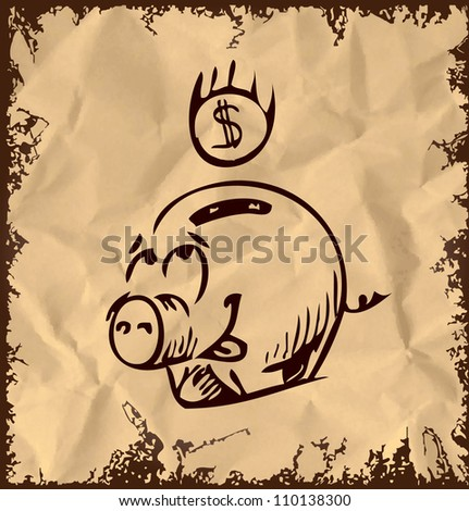 Money pig cartoon icon isolated on vintage background. Hand drawing sketch vector illustration