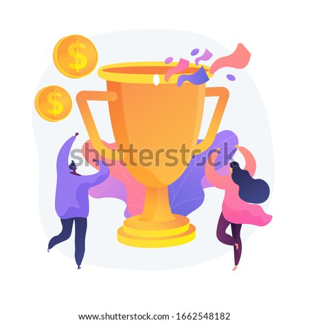 Money prize, trophy, deserved reward. Team success, championship, high achievement. Monetary award recipients, winners cartoon characters. Vector isolated concept metaphor illustration.