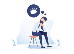 Money problem Financial Trouble Flat Illustration. Depressed Businessman in Need Cartoon Character. Economic Crisis, Business Bankruptcy. Pressured Office Worker with Headache, Unpaid Loan Debt