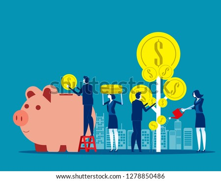Money Profit growth business. Concept business vector illustration, Investment, Deposit, Coin.
