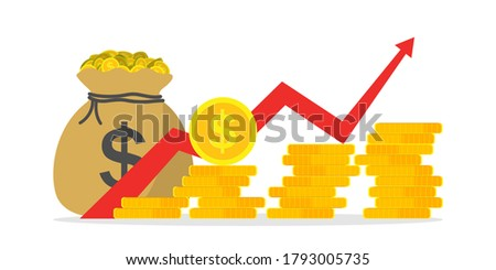 Money profit growth. Chart of revenue, margin. Graph of budget up. Investment finance - return of cash. Growth market and economy. Earn on business and inflation. Icon of increase gain benefit. Vector Foto d'archivio ©