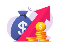 Money profit growth up, cash benefit, economic inflation dollar value increase vector icon, financial earning revenue interest symbol,economy investment arrow up flat cartoon, concept of budget boost