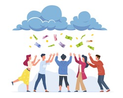 Money rain. Cartoon happy people catching banknotes and gold coins falling from clouds. Successful men and women collecting flying cash. Lottery winners. Vector easy earning concept