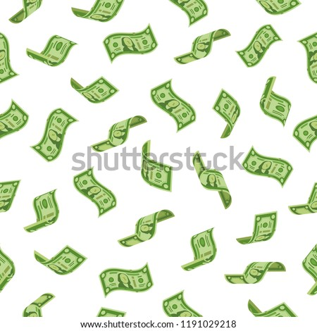 Money rain. Falling dollars denominations, raining cash banknotes or flying dollar banknote charitable investment. Wealth abundance, bill economy or banking taxes seamless vector backdrop