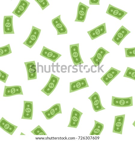 Money rain pattern. Falling hundred dollar banknotes isolated on white background. Illustration for credit, savings, success, charitable concepts.