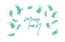 Money rain text isolated background vector. Falling banknotes in flat design. Getting maximum profit idea. Cash for all purposes. Credit, savings, charitable concept. Wealth dollars denominations rain